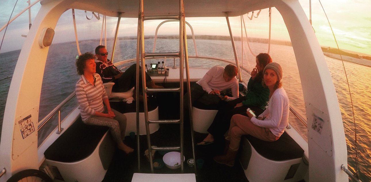 Dive Ningaloo - Top Deck sunset with customers